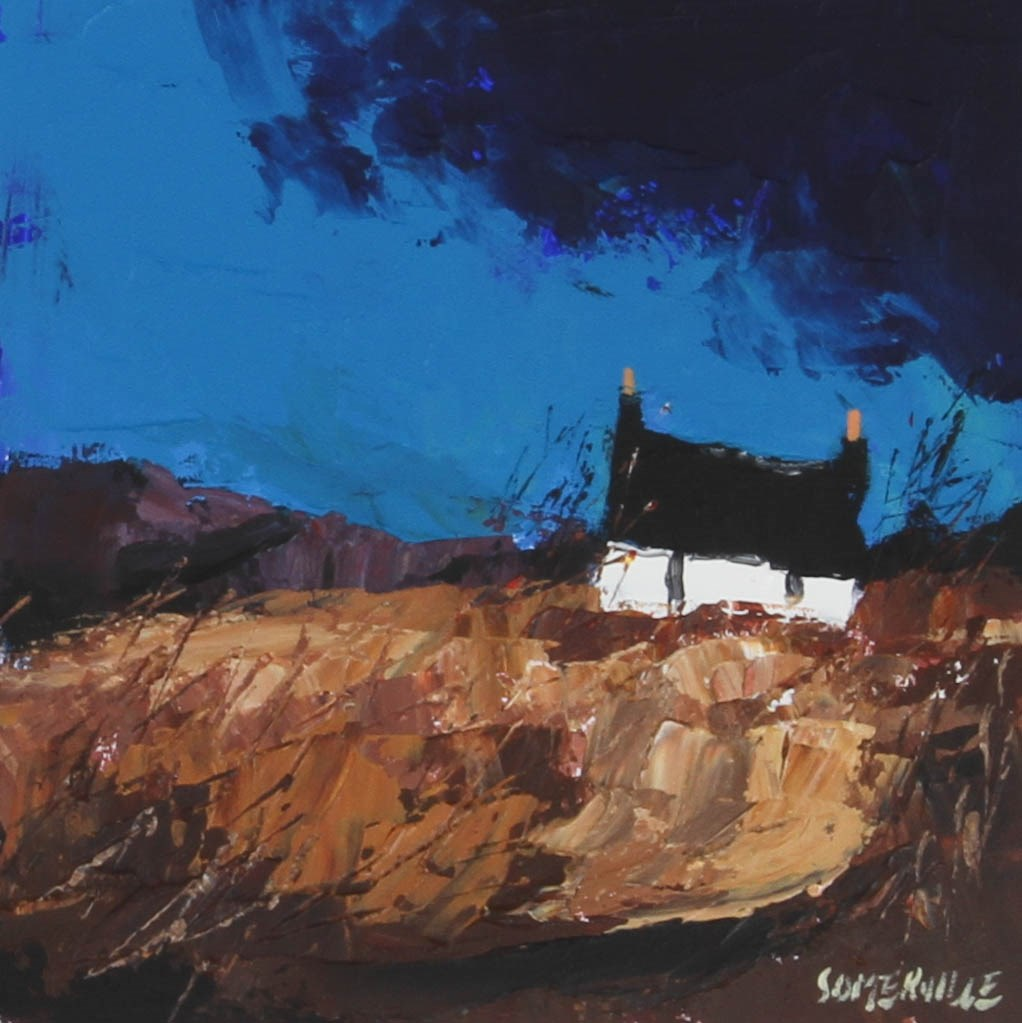 Winter Knocks at the Door by george somerville - Original on Board sized 6x6 inches. Available from Whitewall Galleries